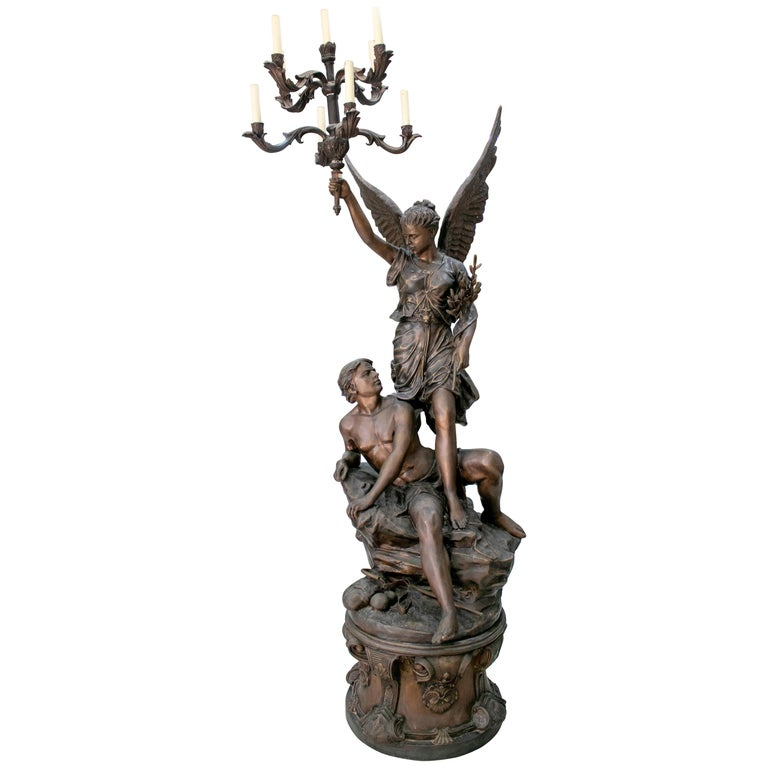 Large Bronze Annunciation Chandelier with Angel and Shepherd Signed S. Keliam For Sale