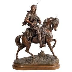 Large Bronze Arab on Horse Back, Emile Guillemin