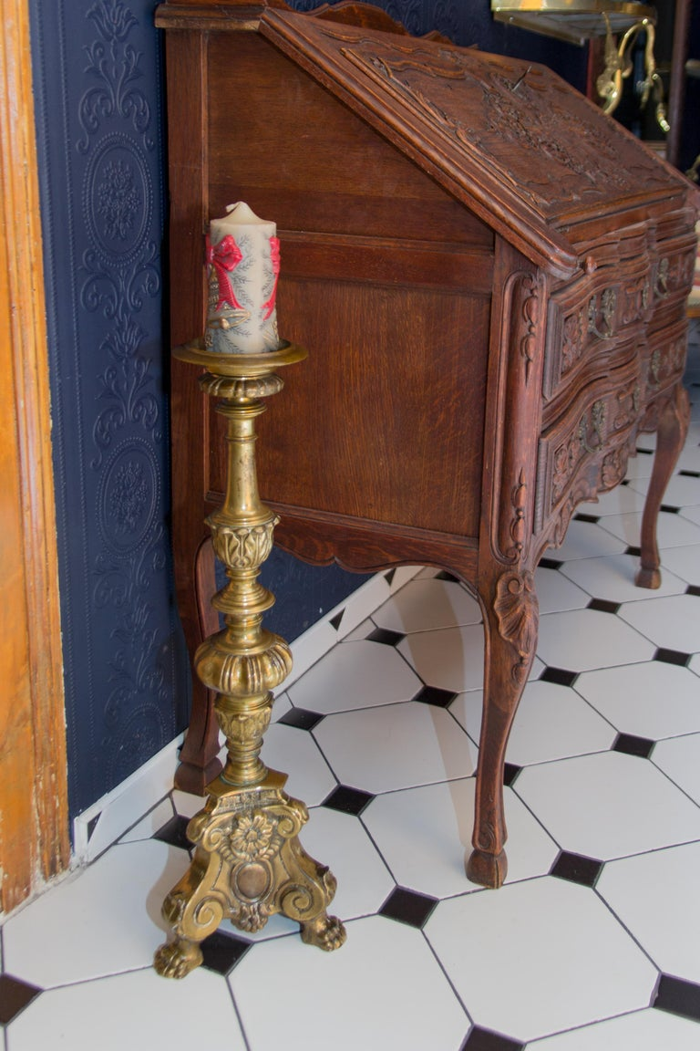 Large Bronze Baroque Candlestick For Sale 3