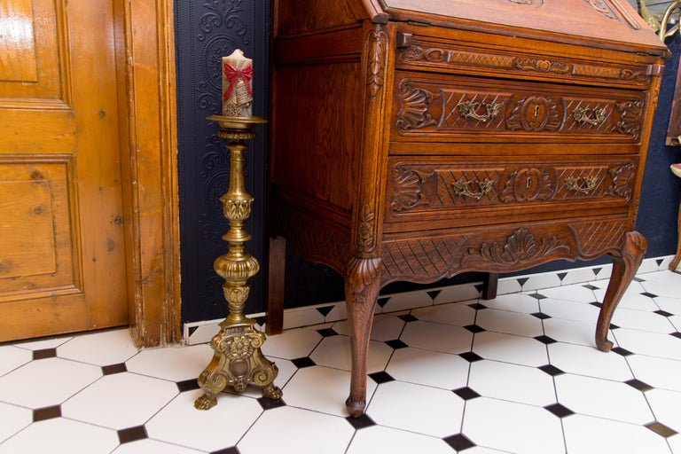 Large Bronze Baroque Candlestick For Sale 4