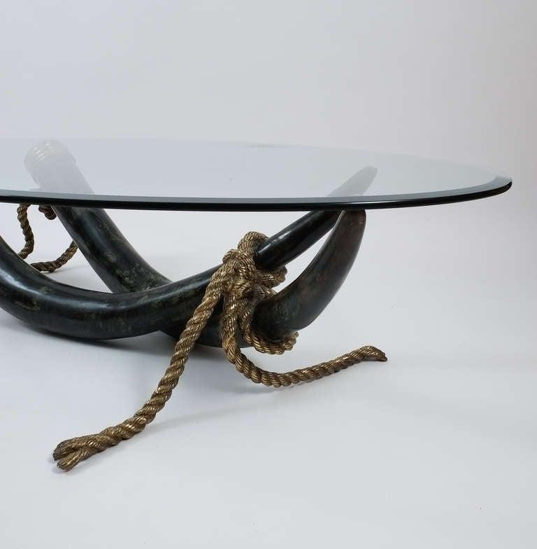 Spanish Large Bronze Brass Elephant Tusk Table Base by Italo Valenti For Sale