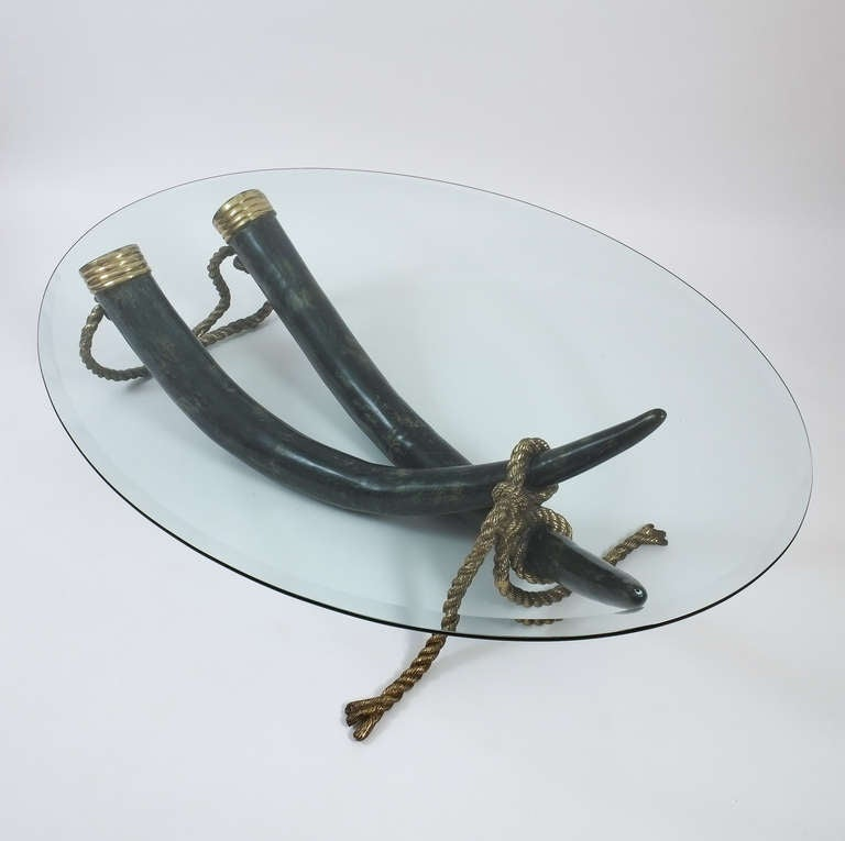 Large Bronze Brass Elephant Tusk Table Base by Italo Valenti In Good Condition For Sale In Vienna, AT