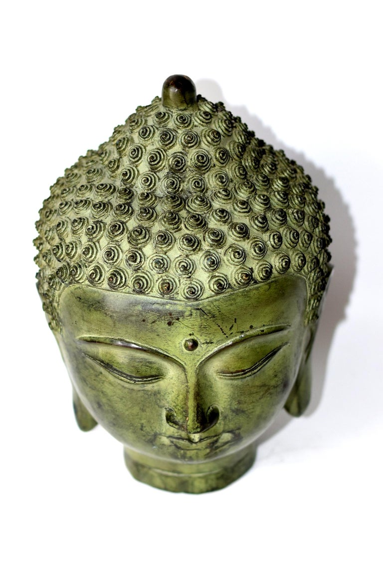 Large Bronze Buddha Head, Tang Dynasty Style For Sale 2