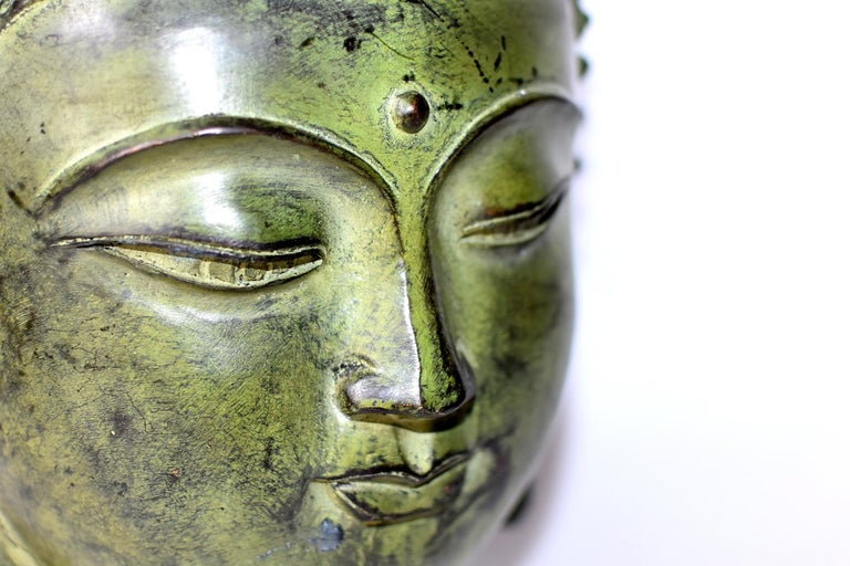 Large Bronze Buddha Head, Tang Dynasty Style For Sale 4
