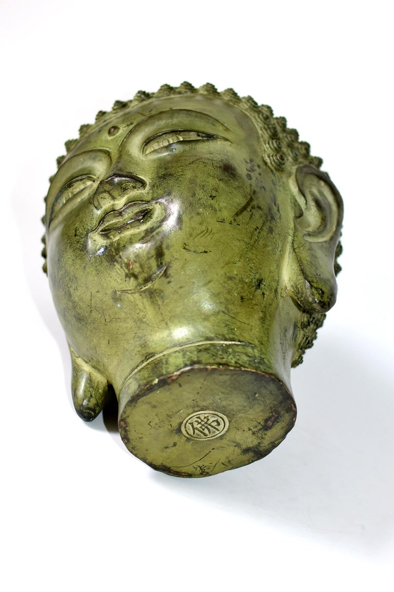 Large Bronze Buddha Head, Tang Dynasty Style For Sale 5