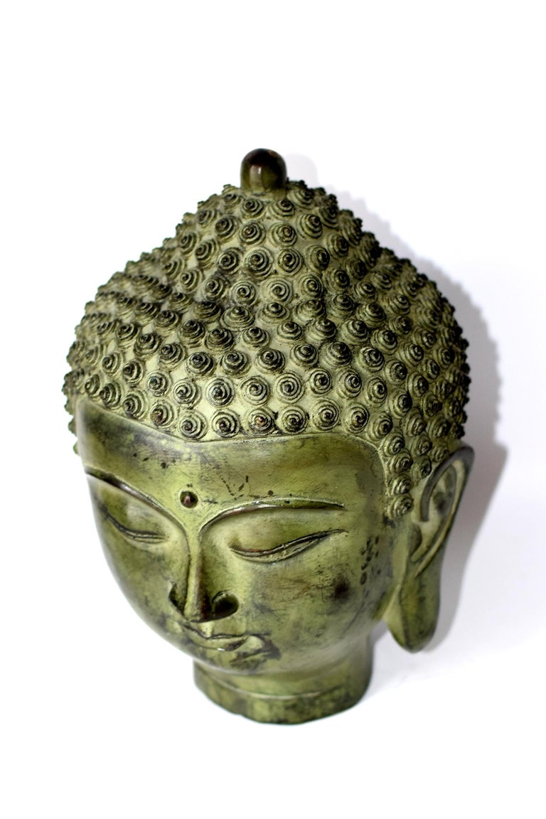 Large Bronze Buddha Head, Tang Dynasty Style For Sale 6