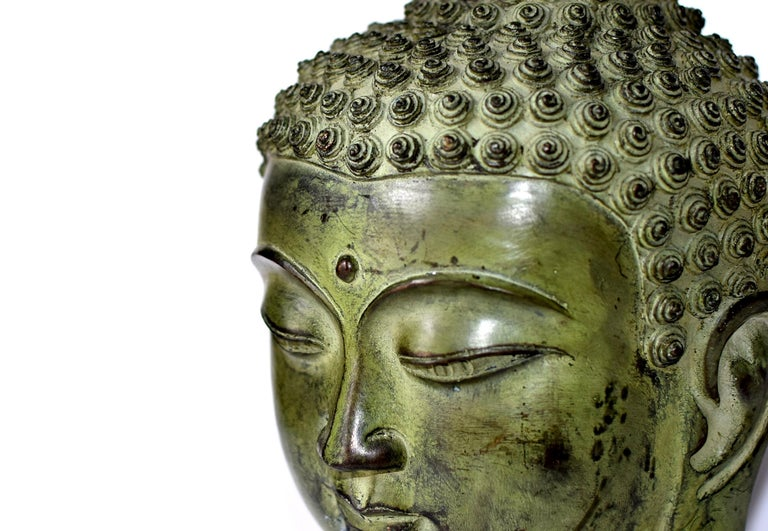 Large Bronze Buddha Head, Tang Dynasty Style For Sale 7