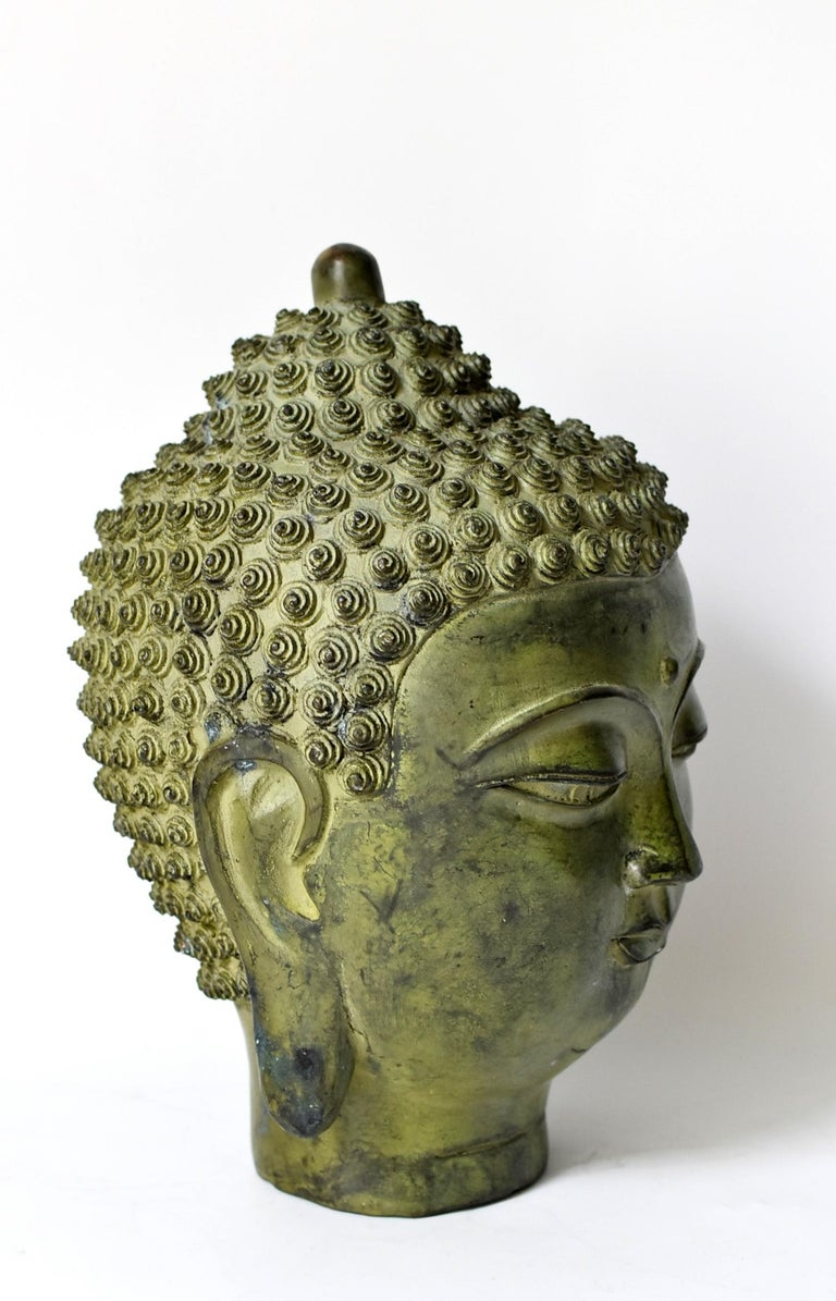 Chinese Large Bronze Buddha Head, Tang Dynasty Style For Sale