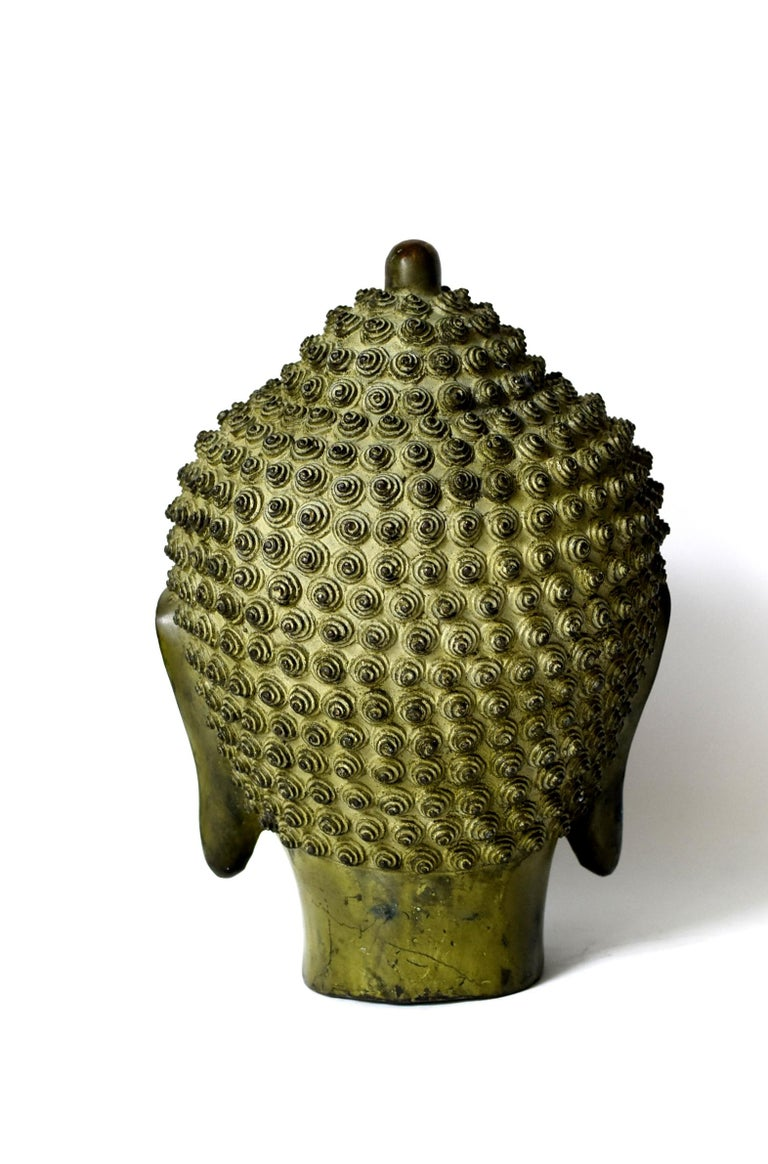 20th Century Large Bronze Buddha Head, Tang Dynasty Style For Sale