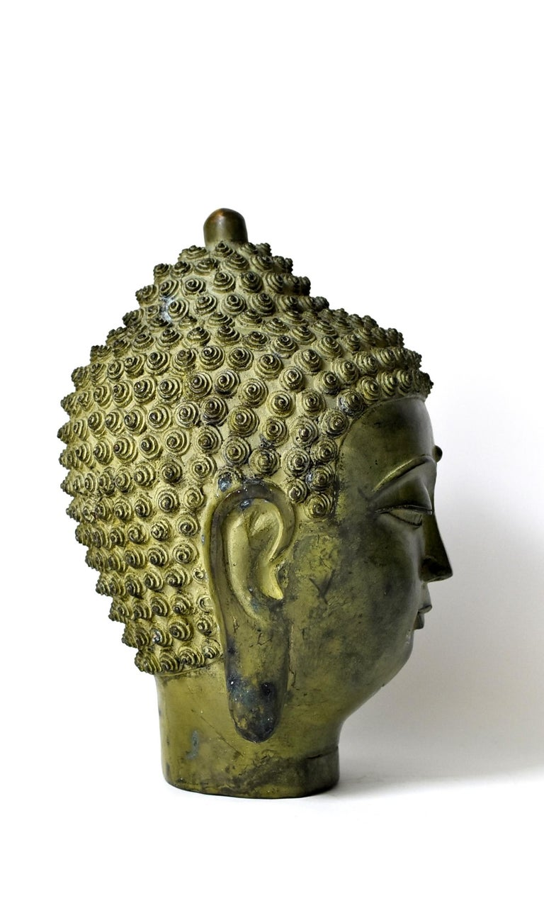 Large Bronze Buddha Head, Tang Dynasty Style For Sale 1