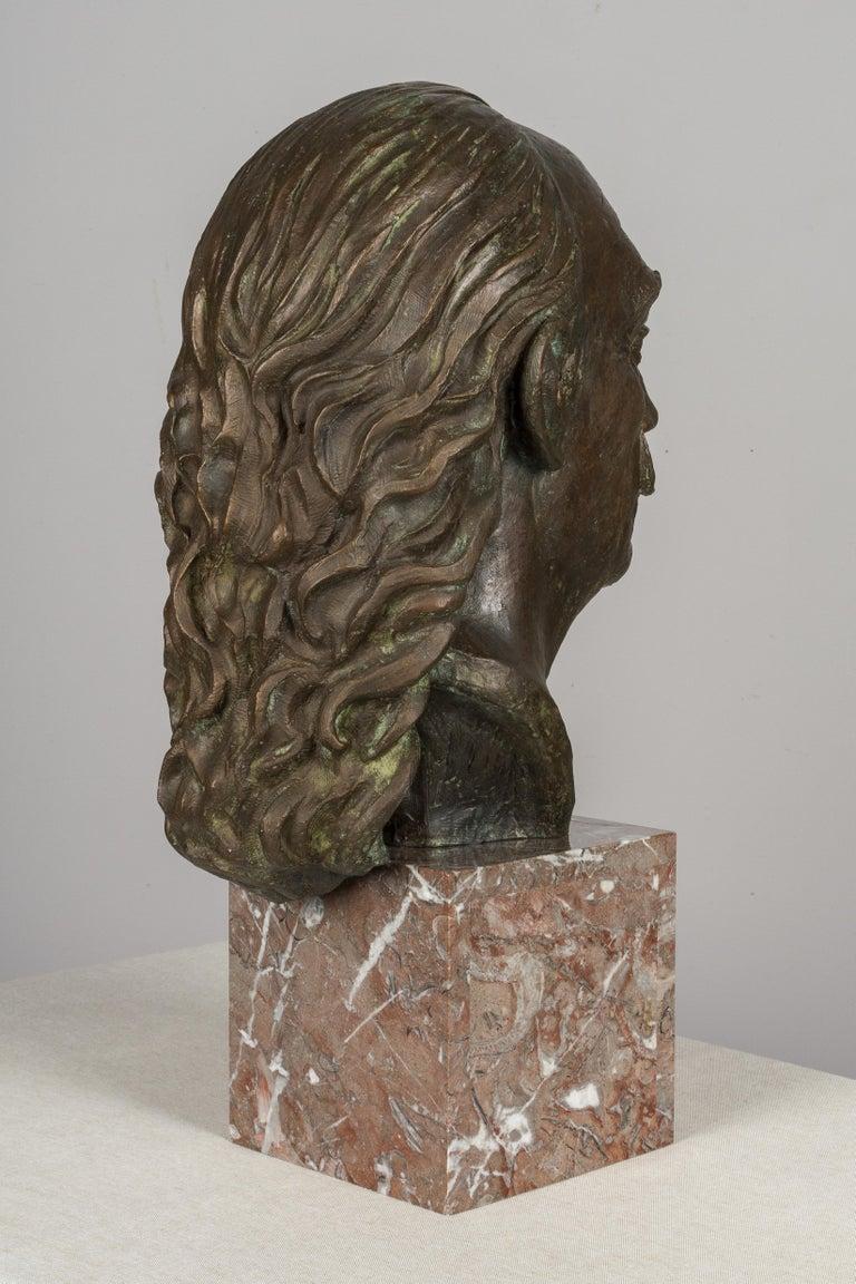 Spanish Large Bronze Bust of Salvador Dali For Sale