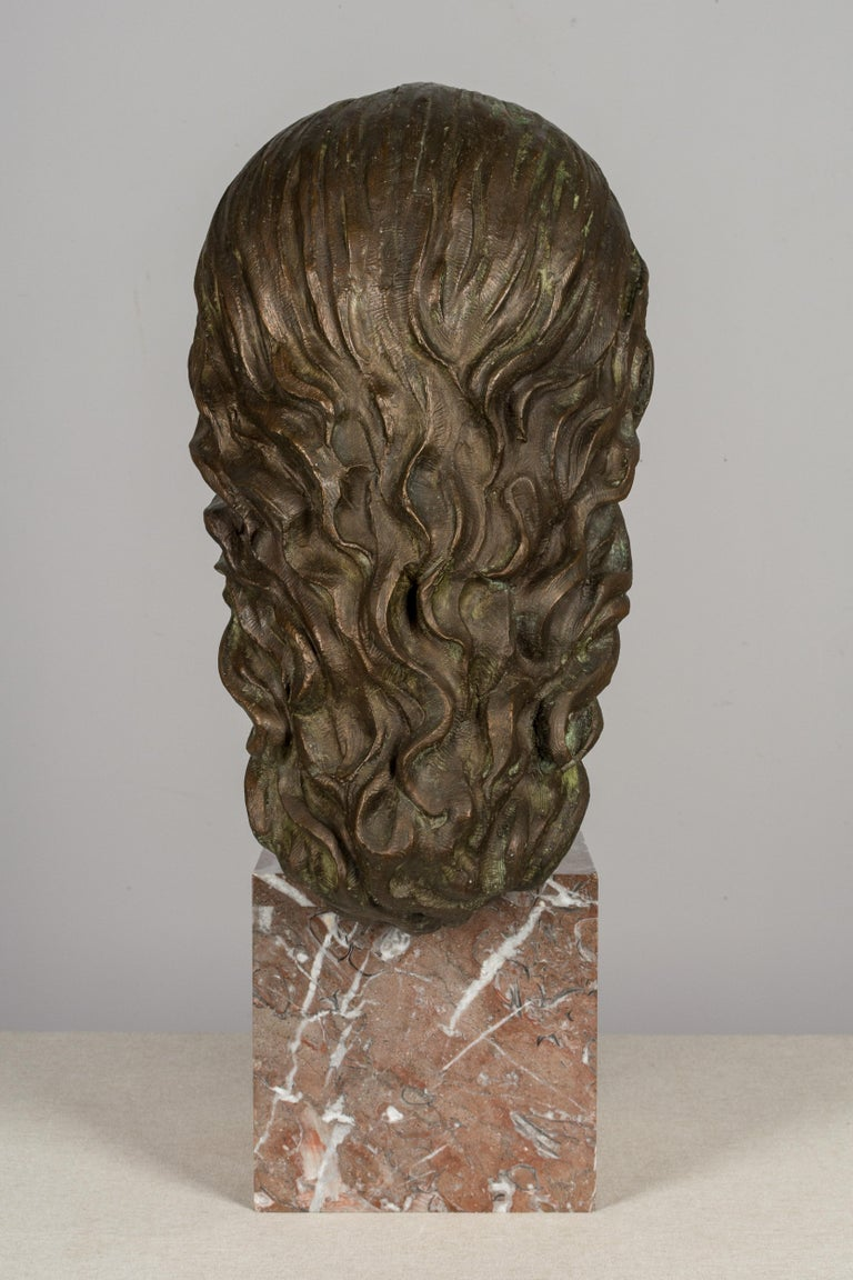 Cast Large Bronze Bust of Salvador Dali For Sale
