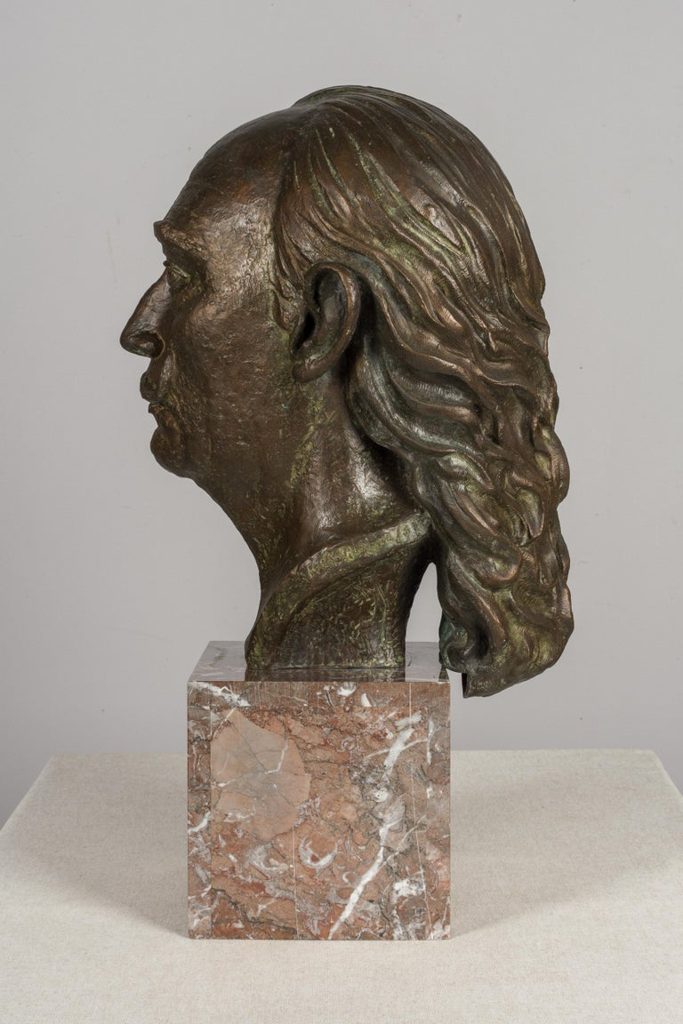 20th Century Large Bronze Bust of Salvador Dali For Sale