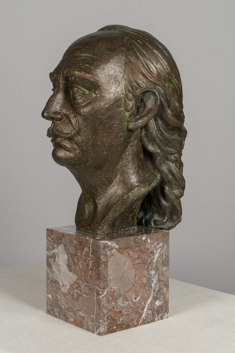 Marble Large Bronze Bust of Salvador Dali For Sale