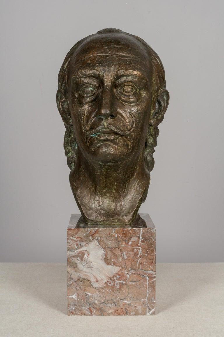 Large Bronze Bust of Salvador Dali For Sale 1