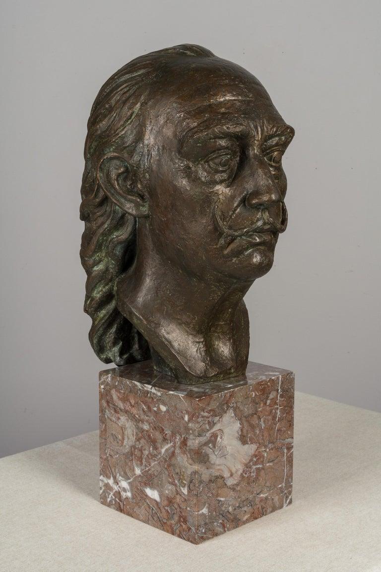Large Bronze Bust of Salvador Dali For Sale 2