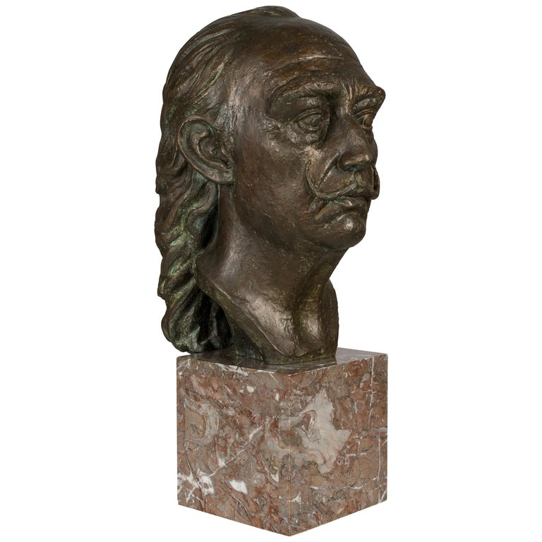 Large Bronze Bust of Salvador Dali For Sale