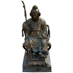 Large Bronze Cloisonné Chinese Seated Emperor