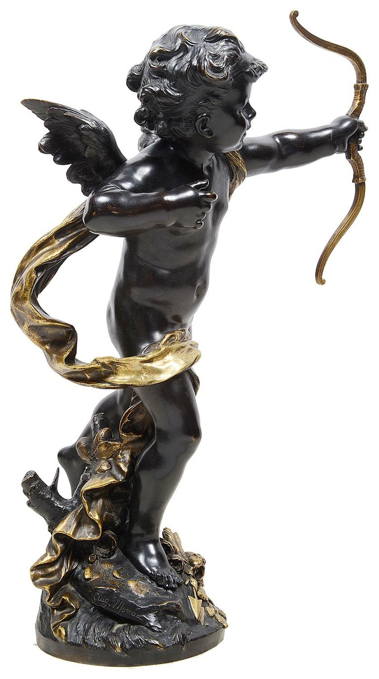 Large Bronze Cupid by Aug. Moreau, 19th Century In Good Condition For Sale In Brighton, Sussex