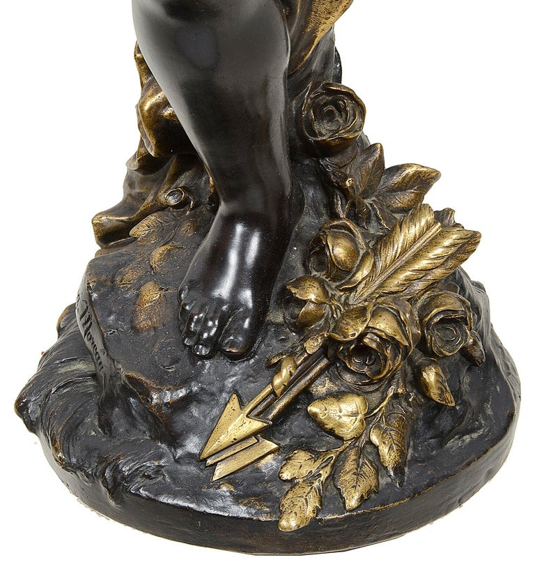Large Bronze Cupid by Aug. Moreau, 19th Century For Sale 3