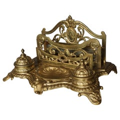 Large Bronze Desk Stand with Inkwells Letter Rack and Porcelain Ink Holders