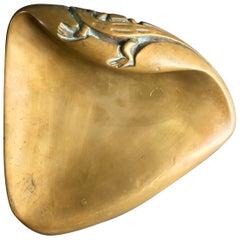 Large Brass Door Handle with Salamander Motif