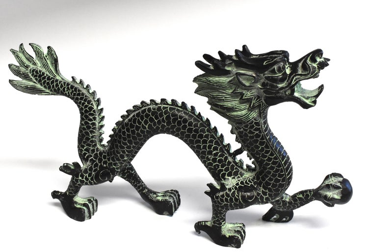 Large Bronze Dragon with Fire Ball, 14.5
