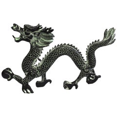 "Large Bronze Dragon with Fire Ball, 14.5"" Wide"