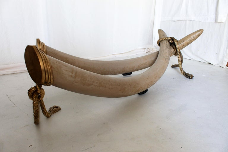 1970s Bronze & Glass Coffee Table with Resin Elephant Tusk Base by Italo Valenti For Sale 5