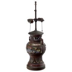 Large Bronze Enamel Decorated Oriental Table Lamp