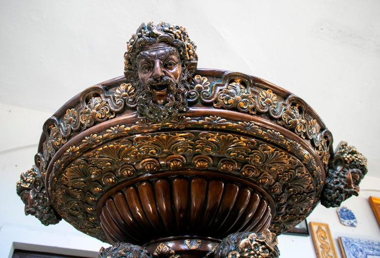 Large Bronze Four Seasons Cherub Fountain with Top Tier and Mascaron Spouts For Sale 8