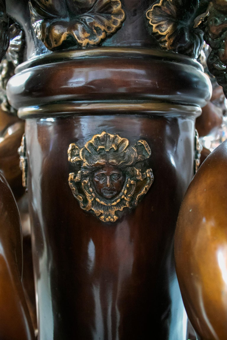 Large Bronze Four Seasons Cherub Fountain with Top Tier and Mascaron Spouts For Sale 13