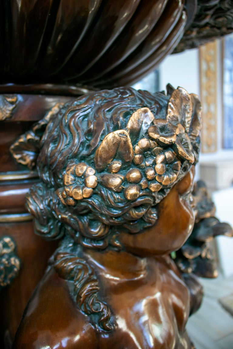 Large Bronze Four Seasons Cherub Fountain with Top Tier and Mascaron Spouts For Sale 2