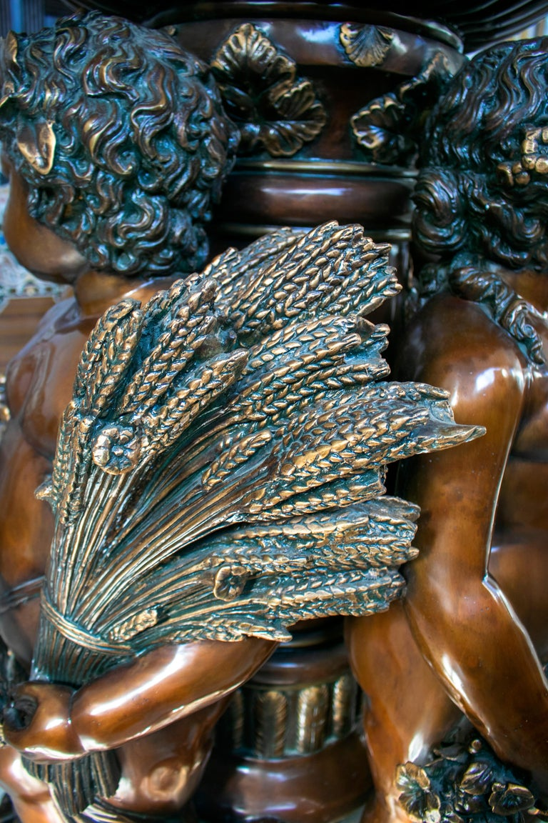 Large Bronze Four Seasons Cherub Fountain with Top Tier and Mascaron Spouts For Sale 4