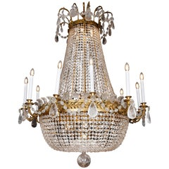 Large Bronze Framed Rock Crystal Chandelier, circa 1880