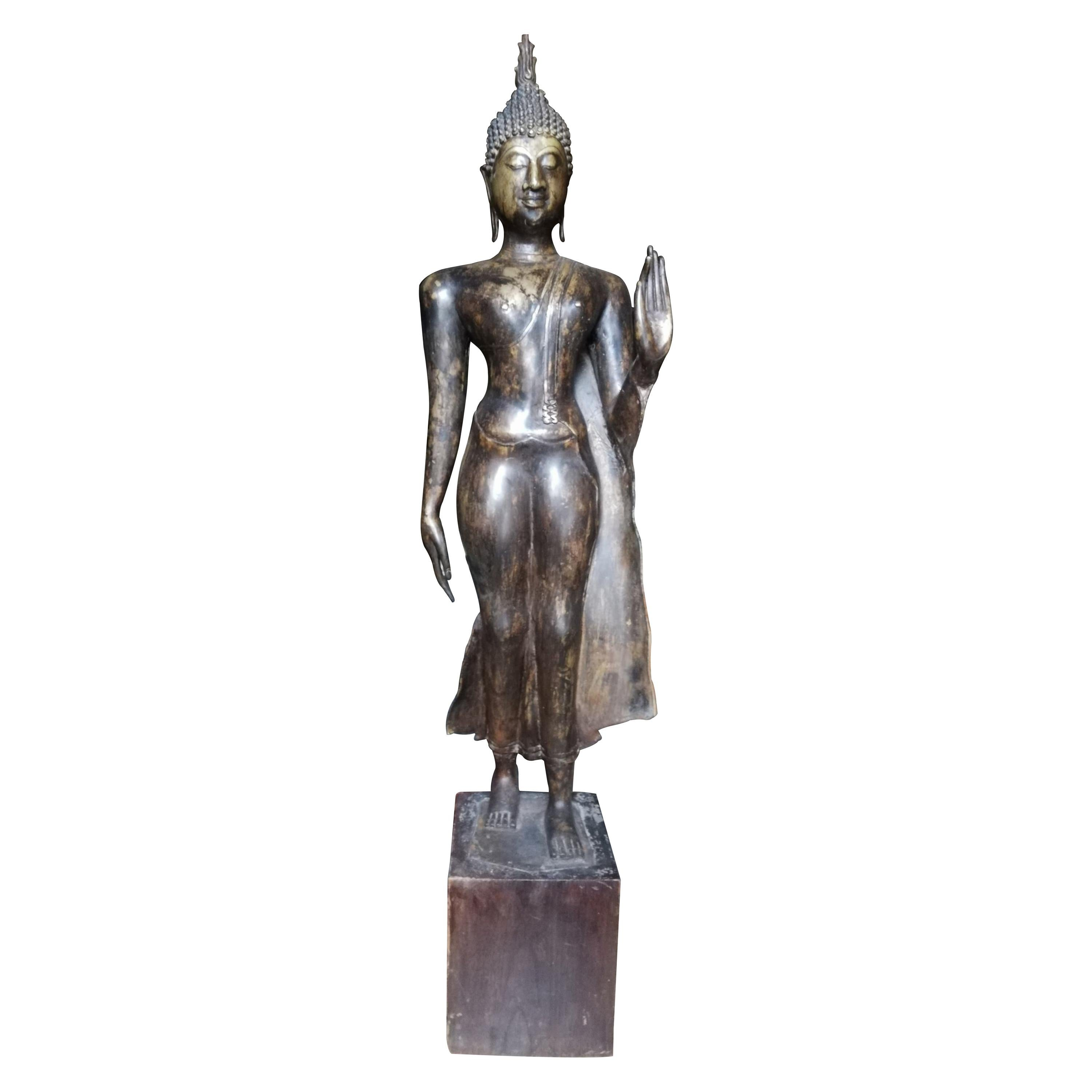 Large Bronze Golden Bronze Boudha of 19th Century on Solid Wood Base