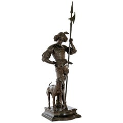 Large Bronze Group of a Renaissance Guard and Dog, circa 1870