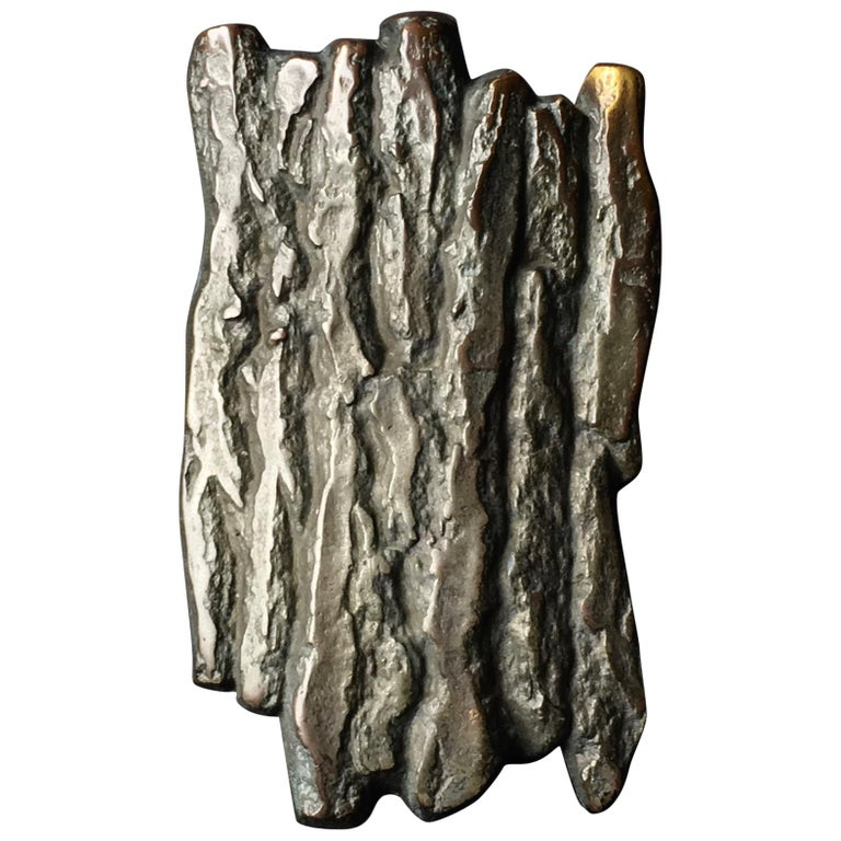 Large Bronze Handle with Tree Bark or Rock Design, Mid-20th Century, European For Sale