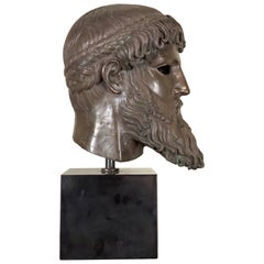 Large Bronze Head after the Antique, Signed Fuse Marinelli Firenze, 20th Century