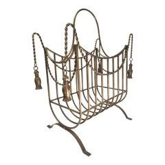 Large Bronze Hollywood Regency Iron Rope and Tassel Firewood Log Caddy