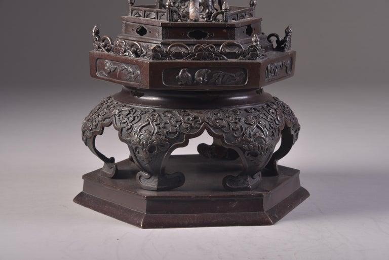Large Bronze Incense Burner, Japan Meji Period, Late 19th Century For Sale 5