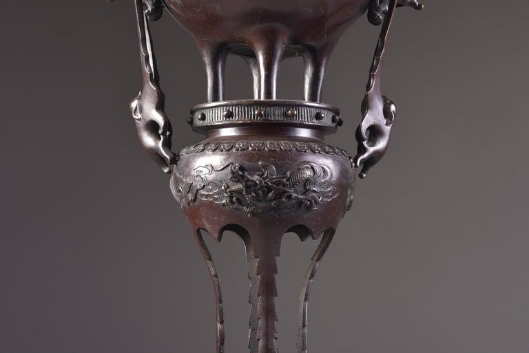Large Bronze Incense Burner, Japan Meji Period, Late 19th Century For Sale 7