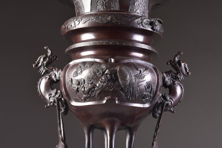 Large Bronze Incense Burner, Japan Meji Period, Late 19th Century For Sale 8