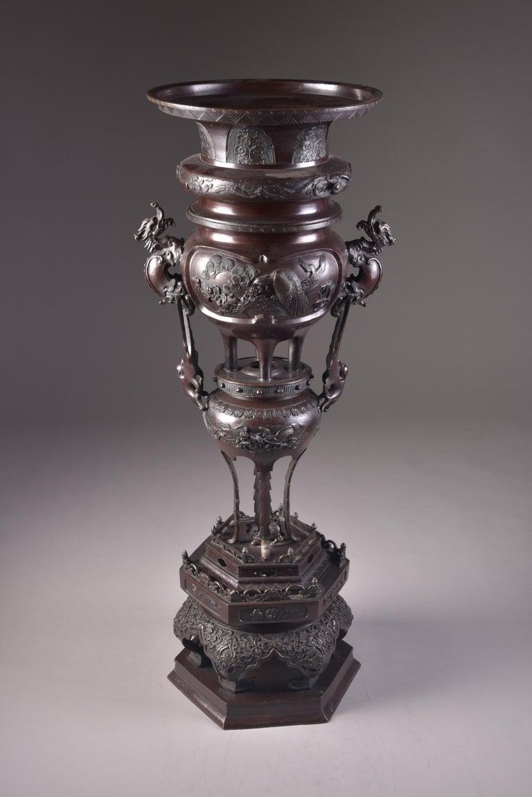 Large Bronze Incense Burner, Japan Meji Period, Late 19th Century For Sale 11