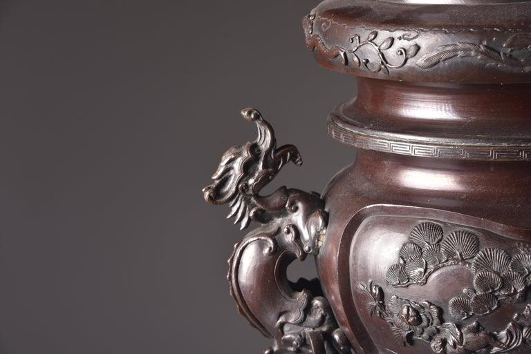 Large Bronze Incense Burner, Japan Meji Period, Late 19th Century For Sale 12