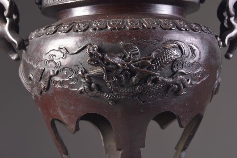 Large Bronze Incense Burner, Japan Meji Period, Late 19th Century For Sale 13
