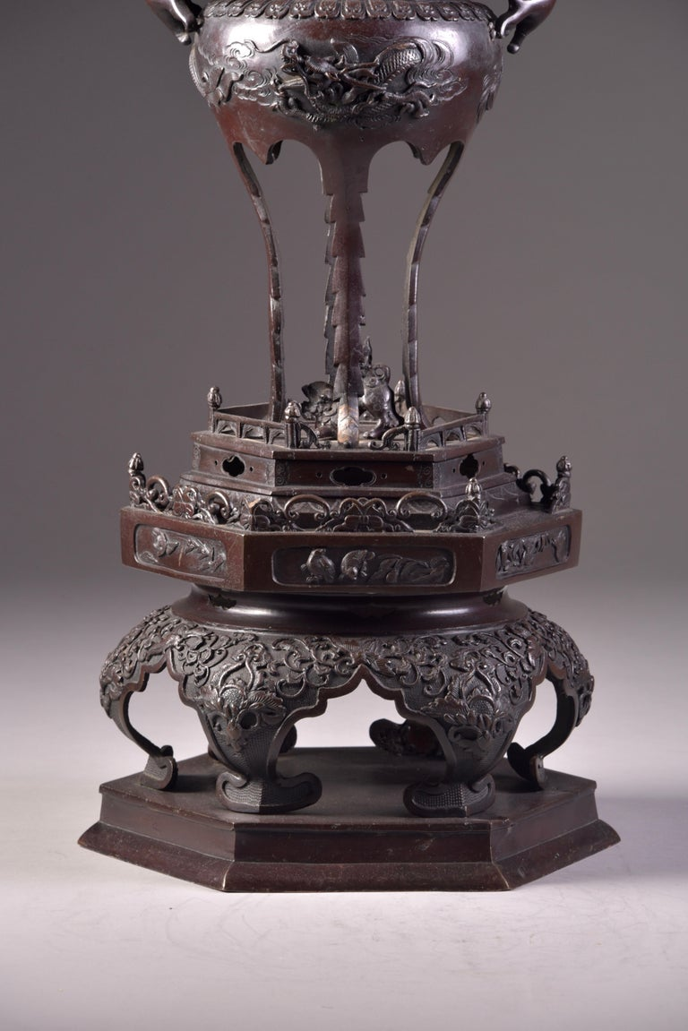 Chinese Large Bronze Incense Burner, Japan Meji Period, Late 19th Century For Sale