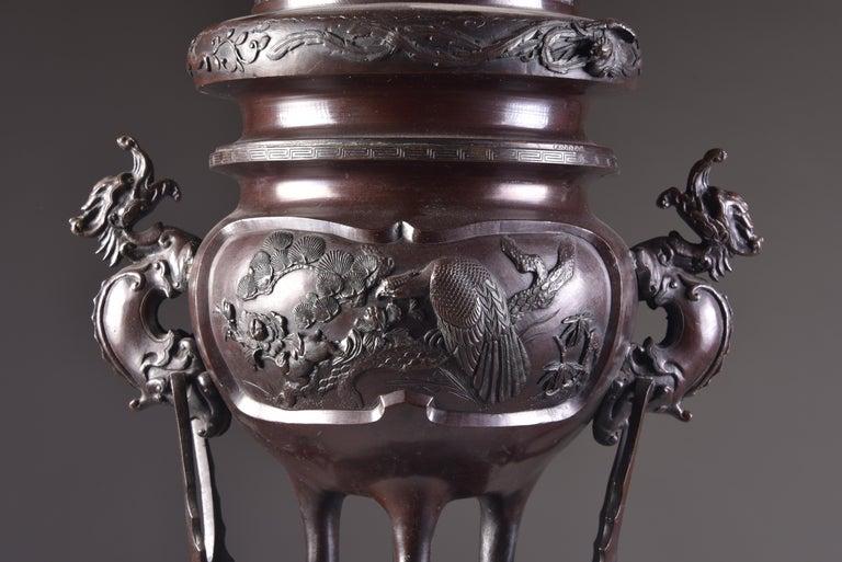 Large Bronze Incense Burner, Japan Meji Period, Late 19th Century For Sale 1