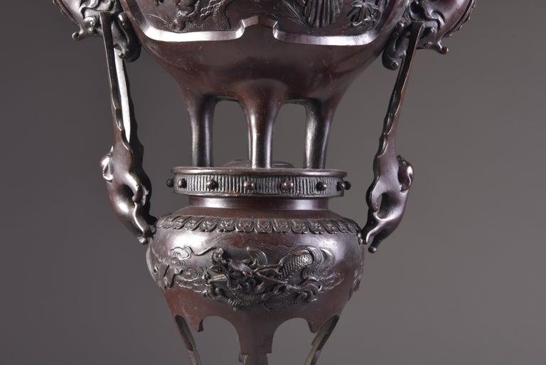 Large Bronze Incense Burner, Japan Meji Period, Late 19th Century For Sale 2