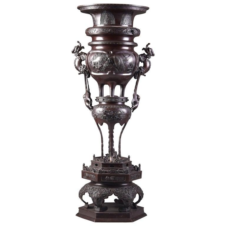 Large Bronze Incense Burner, Japan Meji Period, Late 19th Century For Sale